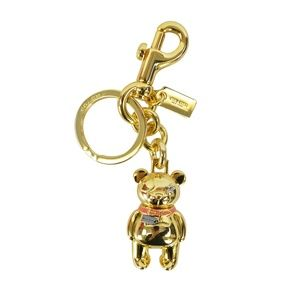 Coach Gold Teddy Bear Key Chain Ring Purse Charm